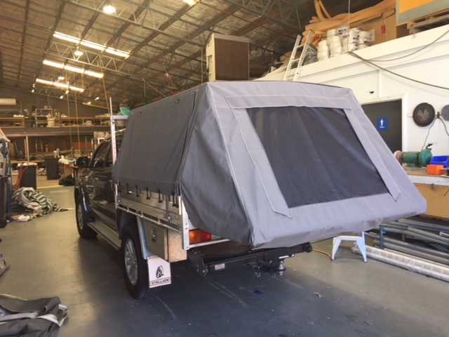 custom Ute canopy with drop down bed extension