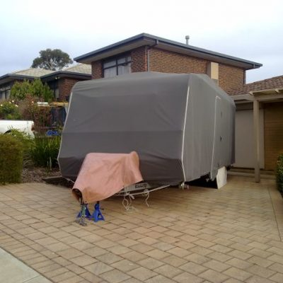Caravan Cover covering tow balls and jockey wheel