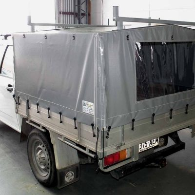 Dual Cab Ute Canopy showing clear windows and ladder racks